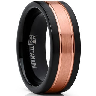 Oliveti Black and RoseGold Titanium Wedding Band Comfort Fit Ring 8mm