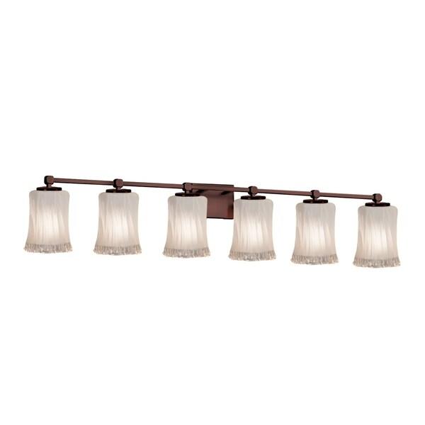 Justice Design Veneto Luce Tetra Dark Bronze 6-light Bath Bar, Cylinder w/ Rippled Rim Shade in White Frosted 29063901