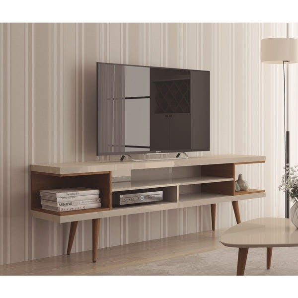 """Manhattan Comfort Utopia 70.47"""" TV Stand with Splayed Wooden Legs and 4 Shelves 29069047"""