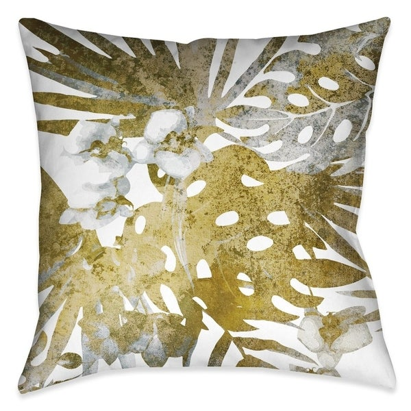 "Laural Home Golden Tropical Ferns II Indoor Decorative Pillow 18""X18"" 29069188"