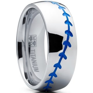 Oliveti Titanium Baseball Ring Band with Blue Stitching, Dome Comfort Fit 8mm
