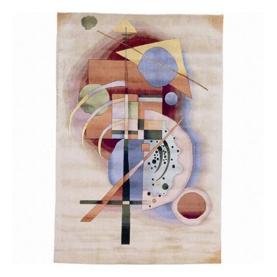 Nourison Hand-knotted Famous Maker Modern Art Beige Wool Rug (3'9 x 5'9)