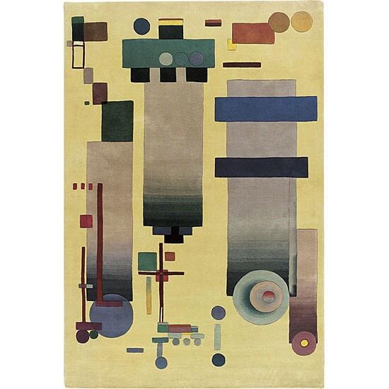 Nourison Hand-tufted Guggenheim Modern Light Gold Rug (7'9 x 9'9)