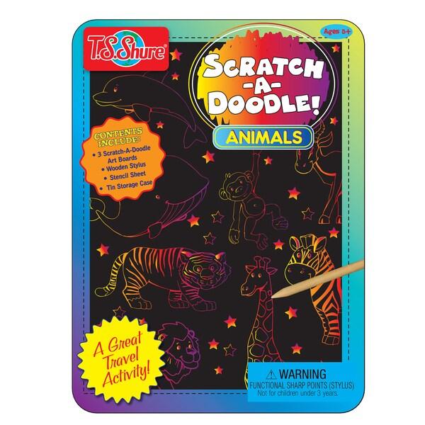 T.S. Shure Scratch-A-Doodle Animals Activity Mini Tin 29119769