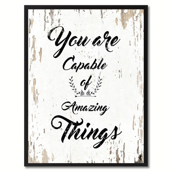 You Are Capable Of Amazing Things Motivation Quote Saying Canvas Print Picture Frame Home Decor Wall Art 29124327