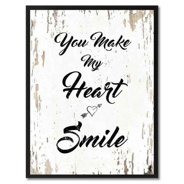 You make my heart smile Happy Quote Saying Canvas Print Picture Frame 29124497