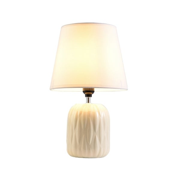 Ore International Chandra Ivory Ceramic Living Room Table Lamp 29126066