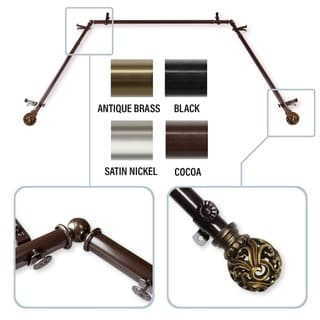 """InStyleDesign Stella 13/16"""" Bay Window Curtain Rod - 20-36 inches, 38-72 inches"""