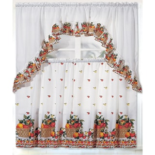 RT Designers Collection Ruffle Fruit Basket Tier and Valance Kitchen Curtain Set