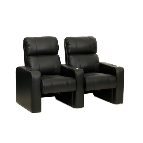 Octane Jet ZR600 Black Bonded Leather Recliner Home Theater Seating Set (Row of 2) 29167392
