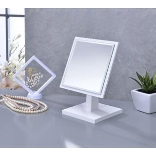 Ore International Square White Frame Beveled Vanity Pedestal Mirror