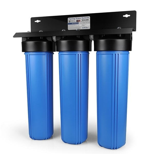 iSpring Iron & Lead Reducing Whole House Water Filter Big blue 3 stage system w/ 20-Inch Sediment, Carbon Block Filter-WGB32B-PB 29168504