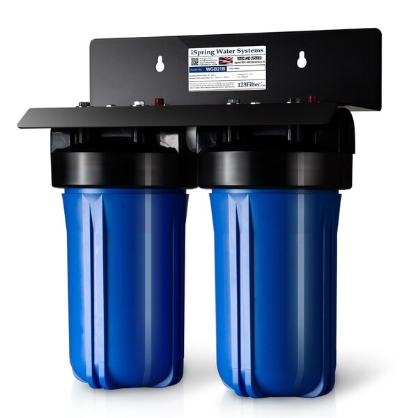 """iSpring 2-Stage Whole House Big Blue Water Filtration System w/ 4.5""""X10"""" Sediment and Carbon Block Filters- WGB21B 29168508"""