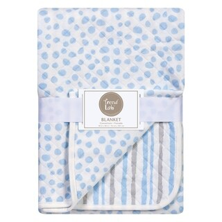 Trend Lab Blue and Gray Cloud Knit Blanket