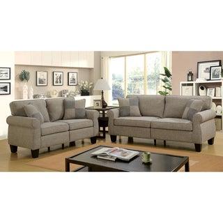 Furniture of America Nele Contemporary Linen Fabric 2-piece Sofa Set