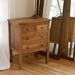 Reclaimed Teak Four Drawer Side Table (India)