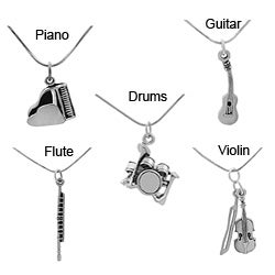 Journee Collection Sterling Silver Musical Instrument Necklace