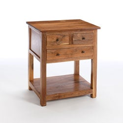 Reclaimed Teak 3-drawer Side Table (India)
