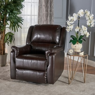 Jennette Faux Leather Swivel Gliding Recliner by Christopher Knight Home