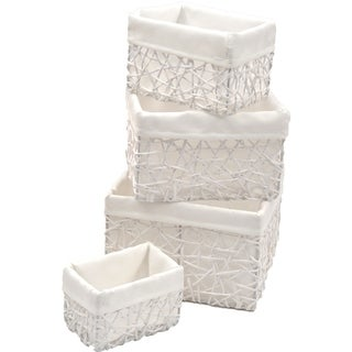 Evideco Paper Rope Storage Utilities Shelf Baskets Set of 4