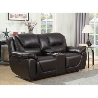 Colton Top Grain Leather Touch Dual Power Reclining Loveseat with Memory Foam Seat Toppers, USB Charging and AC Power Outlets