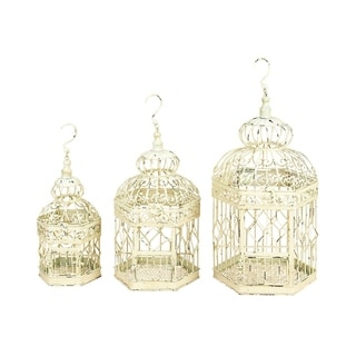 The Curated Nomad Lamartine Metal Bird Cage Set of 3, 21 inches ,18 inches ,14 inches high