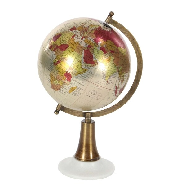 Studio 350 Metal PVC Marble Globe 8 inches wide, 15 inches high 29279838