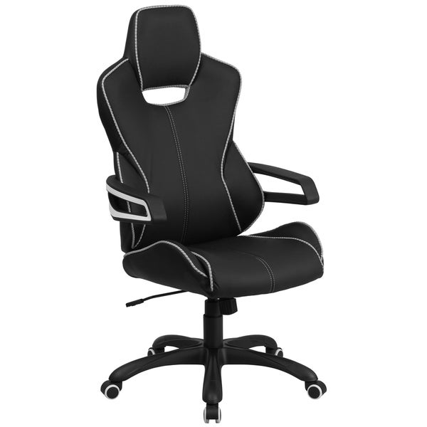 Executive Black Adjustable Swivel Office Chair with White Trim and Wrap Around Arms 29279983