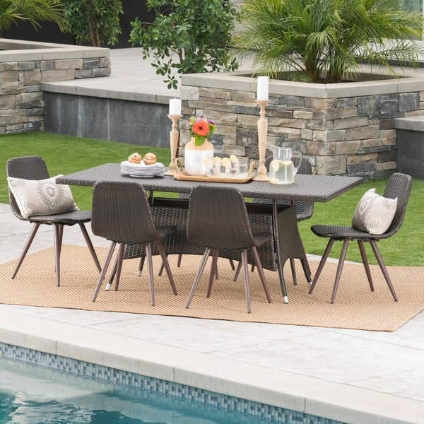 Ezra Outdoor 7-Piece Rectangle Wicker Dining Set by Christopher Knight Home -  301967