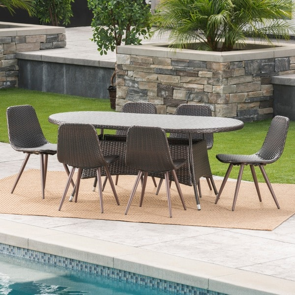 Ethan Outdoor 7-Piece Oval Wicker Dining Set by Christopher Knight Home -  301966
