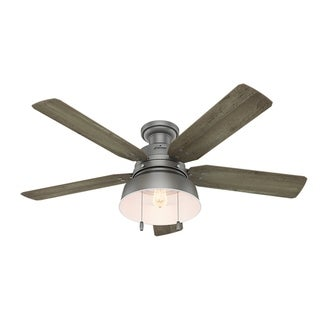 """Hunter Fan 52"""" Mill Valley Matte Silver Outdoor Low Profile w / LED Light, Pull chain, Damp Rated"""
