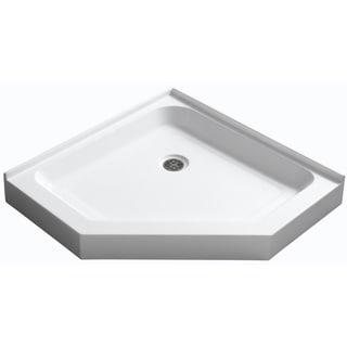 Randi 36 x 36 in. Neo-Angle Double Threshold Shower Base in White