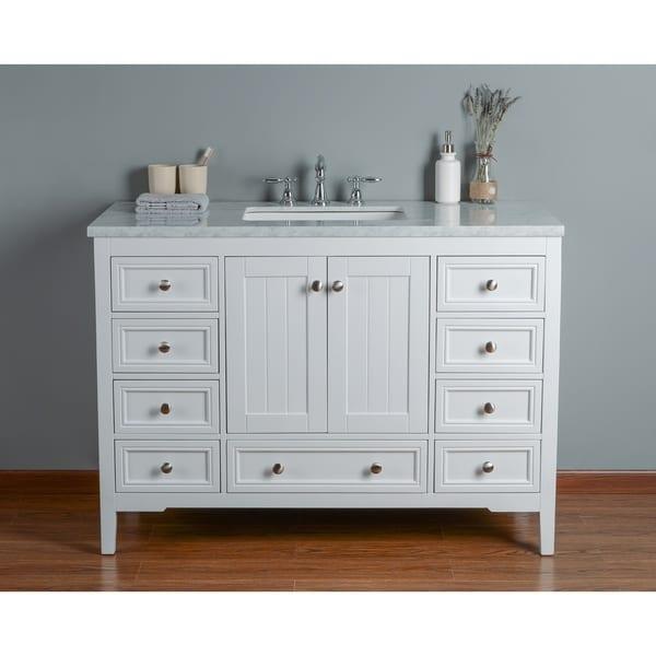 Stufurhome New Yorker 48-inch White Single Sink Bathroom Vanity 29321768