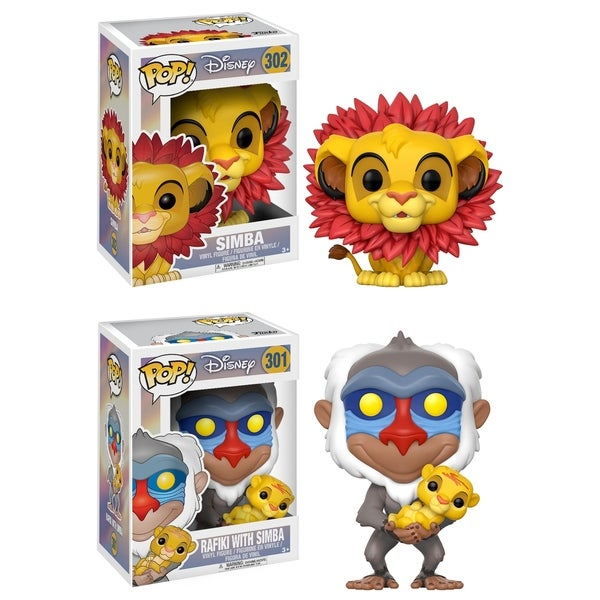 Funko POP! Disney Lion King Collectors Set; Simba (leaf mane), Rafiki holding baby Simba 29331969