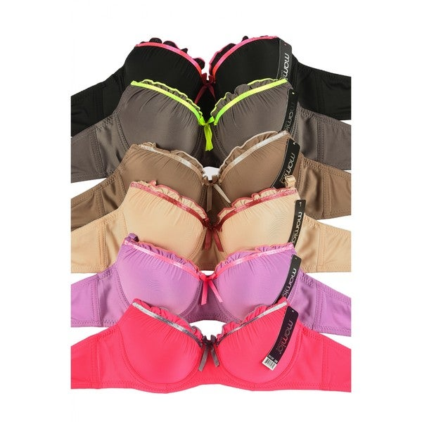 Mamia 6-Pack Demi Cup Bras with Adjustable Straps (Assorted Colors) 29332576
