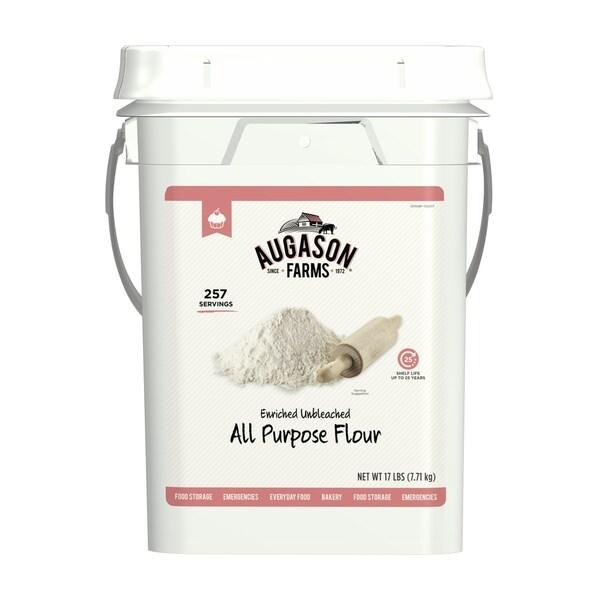 Augason Farms Enriched Unbleached All Purpose Flour Emergency Bulk Food Storage 17 Pound 4-Gallon Pail 257 Servings 29341049