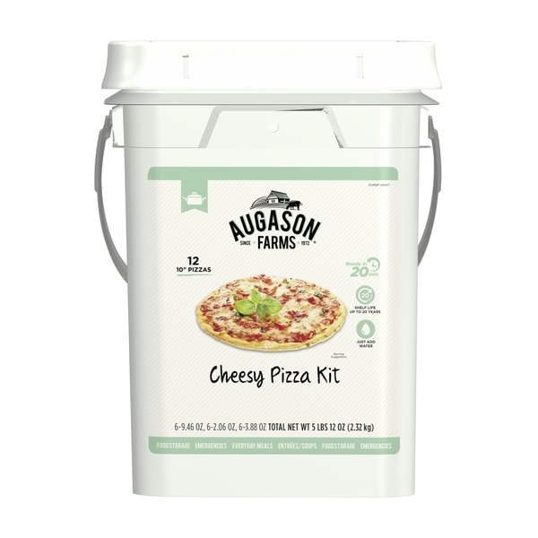 Augason Farms Cheesy Pizza Kit Emergency Food 4-Gallon Pail 12 Pizzas 29341050