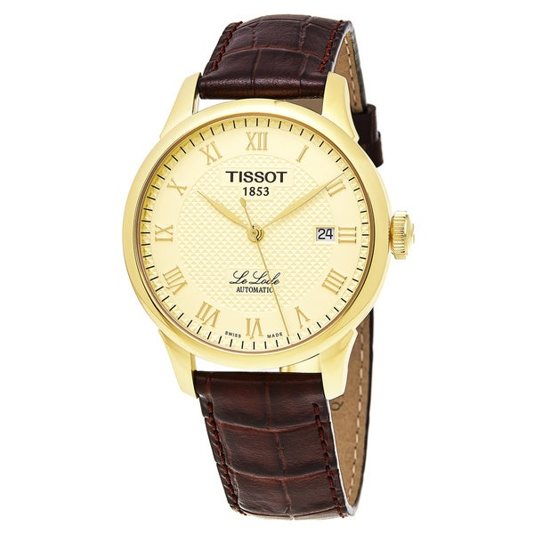 Tissot Men's T006.407.36.263.00 'Le Locle' Gold Dial Brown Leather Strap Swiss Automatic Watch 29352039