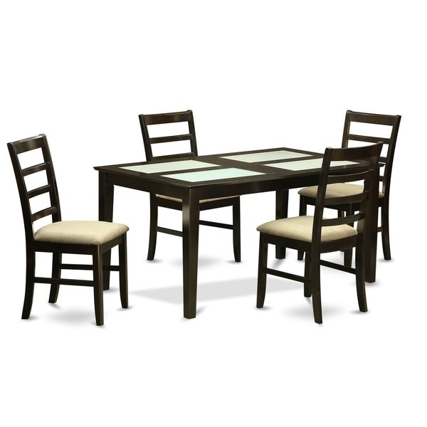 CAPF5G-CAP 5 Pc Dining set- Glass Top Dining Table and 4 Dining Chairs 29379092