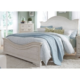 Bayside Antique White Wire Brushed Panel Bed Set