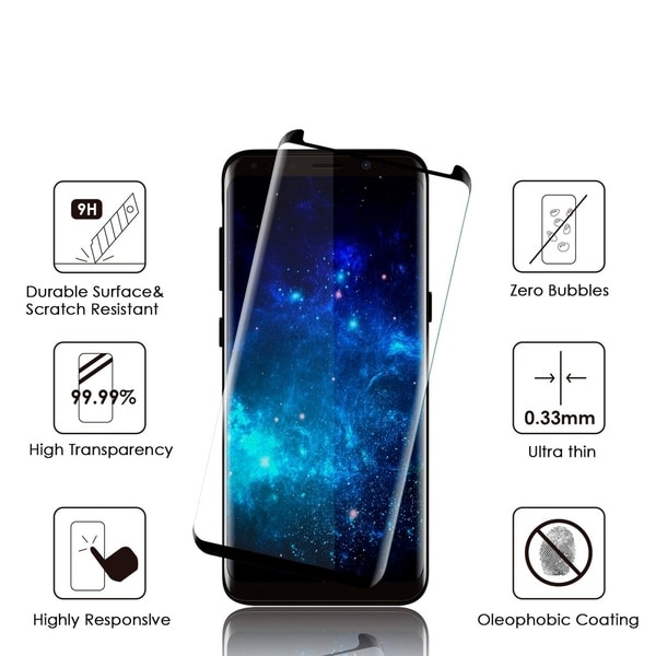 Samsung Galaxy S8 3D Curved Edgeless Tempered Glass Protector 0.3Mm Arcing - Black 29385439