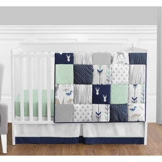 Sweet Jojo Designs Navy and Mint Woodsy Collection 4-piece Bumperless Crib Bedding Set