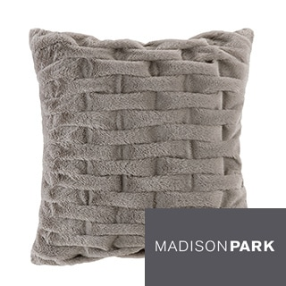 Madison Park Ruched Fur 20x20 Square Pillow