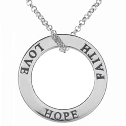 Tressa Sterling Silver Faith Hope Love Circle Necklace