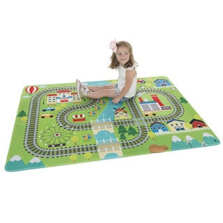 Hey! Play! Baby Play Mat for Kids, Microfiber Flannel Fleece & Foam Mat with Non Slip Back and Train Scene
