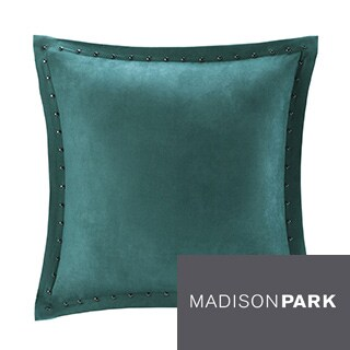 Madison Park Reiss Stud Trim Feather Down Filled Microsuede 20x20 Square Pillow