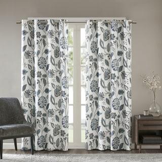 SunSmart Laurel Jacquard Floral Printed Room Darkening Grommet Single Curtain Panel