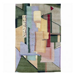 Nourison Hand-Knotted Famous Maker Modern Art Multi Wool Area Rug (3'9 x 5'9)