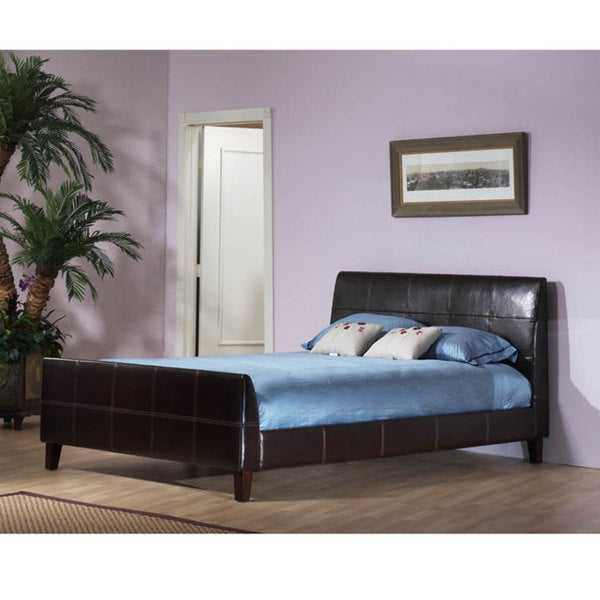 Synthetic Leather California King-size Platform Bed with Contrast Stitching