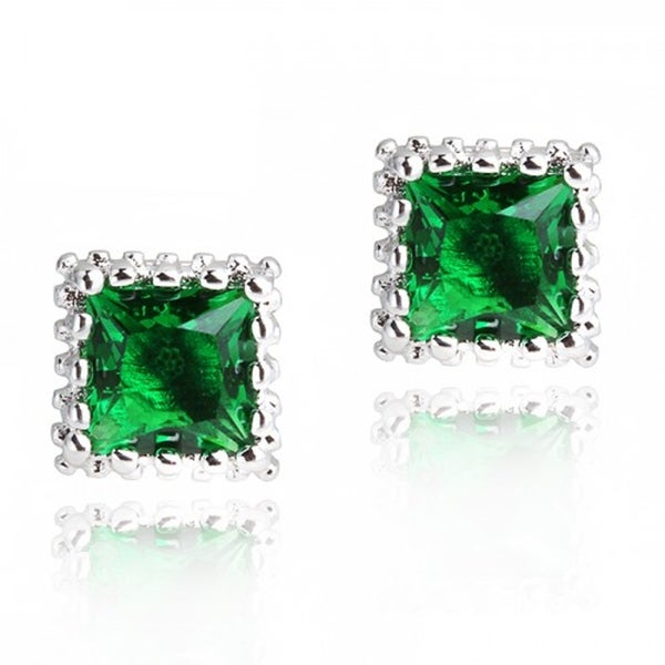 Silver Overlay Red/Green Glass Halo Stud Earrings 29460824